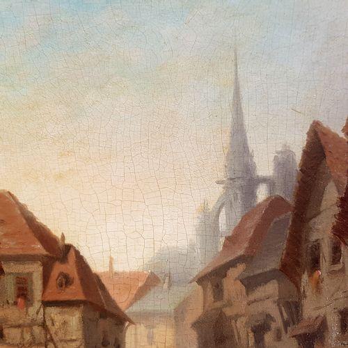 Französische Schule um 1860  Blick auf ein Dorf, wahrscheinlich in der Normandie…