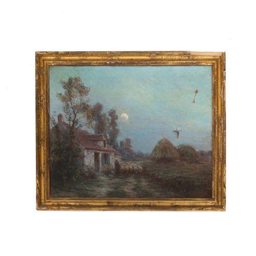 Gustave GUIGNERY (1869 1941)  Bergère et ses moutons  Huile sur toile signée en …