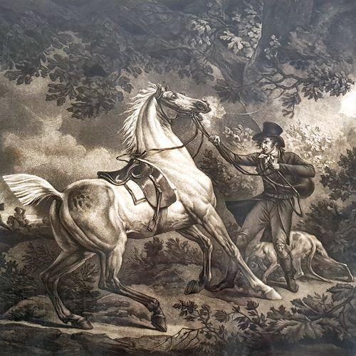 仿照卡尔 韦尔内(1758 1836)和菲利贝尔 路易 德布库尔(1765 1832)的作品  被闪电吓坏的马  带说明的黑色雕刻品,19世纪  58 x 69…