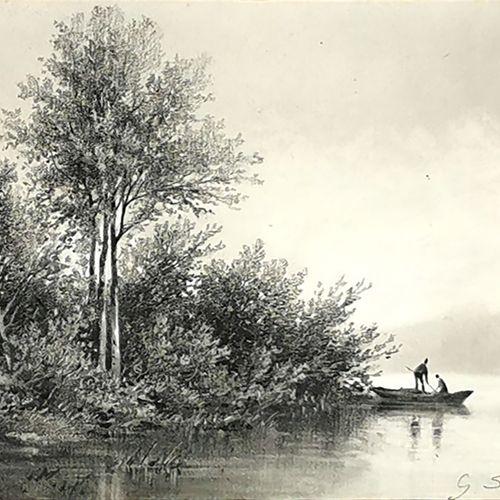 Georges SMITH (Actif au XIXe siècle)  Bord de Seine, 1873  Carbon et craie blanc…