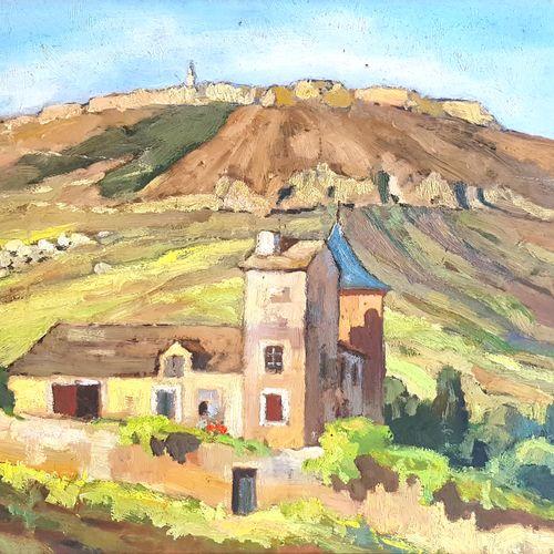 École du XXe siècle  Le Mas  Huile sur panneau  35 x 44,5 cm à vue  Encadré