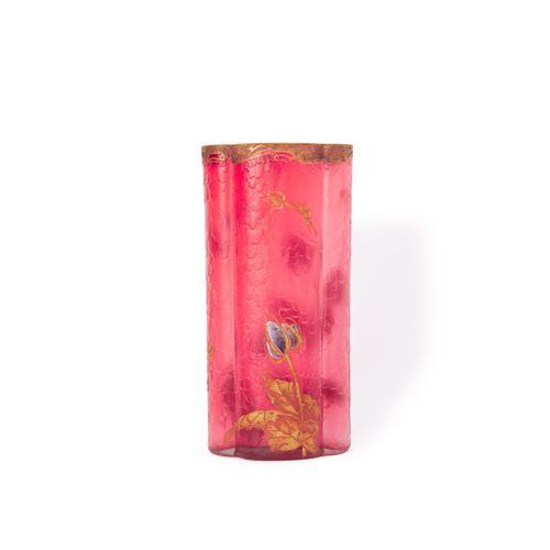 MONTJOYE LEGRAS Cie – CRISTALLERIE de SAINT DENIS  « Chardons »  Vase de section…