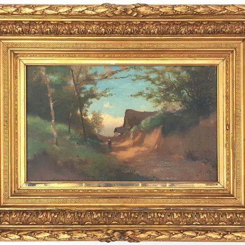 Lucien FRANCK (1857 1920)  Chemin en sous bois  Huile sur toile signée  32 x 53 …