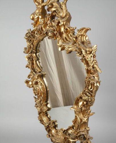 Miroir en stuc Néorococo  Miroir mural asymétrique de la fin du XIXe siècle, ric…
