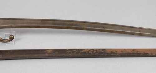 French jatagan sidearm 19th century  curved blade with flat grooves, stamped St.…
