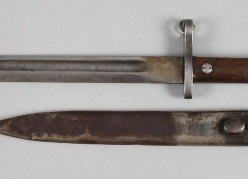 Bayonet  probably 98/05, numbered 9.3.7.34, walnut grip scales, iron scabbard, o…