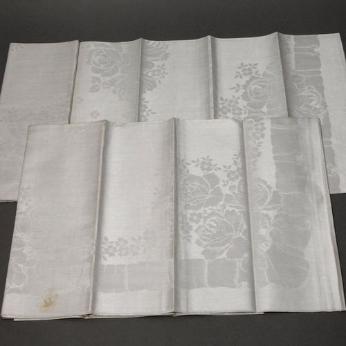 Pair of tablecloths with rose decoration  ca. 1930, cream linen damask with wove…