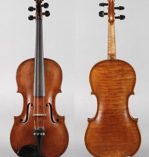 Violin in case  19th century, brand stamp IGS, with two Danish repair labels of …
