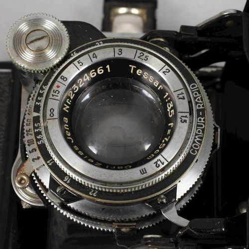 Two cameras Zeiss Ikon  1930s, leather covered, partly chromed or blackened meta…