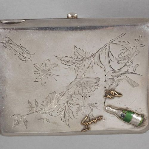 Russia cigarette case silver  hallmarked Vasily Agafonov, worked in Moscow c. 18…