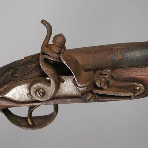 18th century horseman's pistol.  Probably Eastern Europe, walnut stock, profiled…