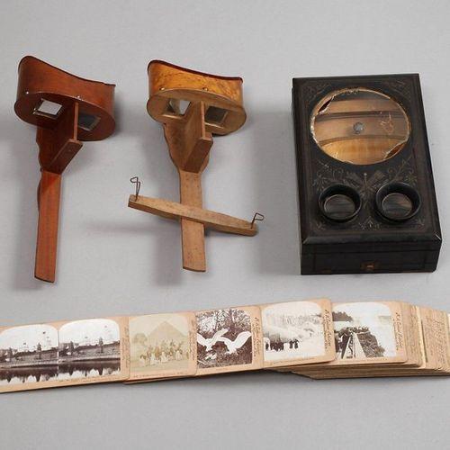 Visionneuse stéréo convolutive et images stéréo  vers 1900, différents bois, com…