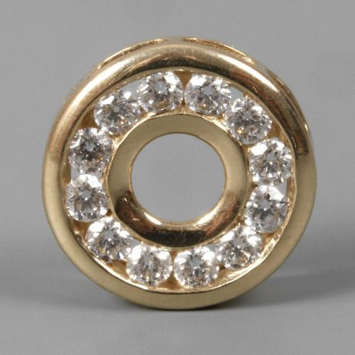 Pendant with diamonds of approx. 1.2 ct  modern, yellow gold tested 585/1000, ro…