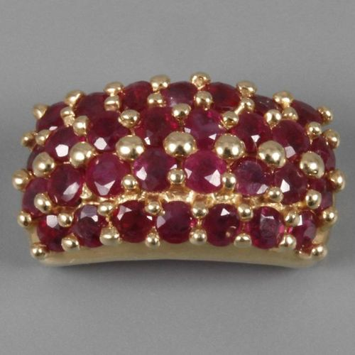 Pendant with rubies  modern, yellow gold stamped 585, set with 30 faceted rubies…