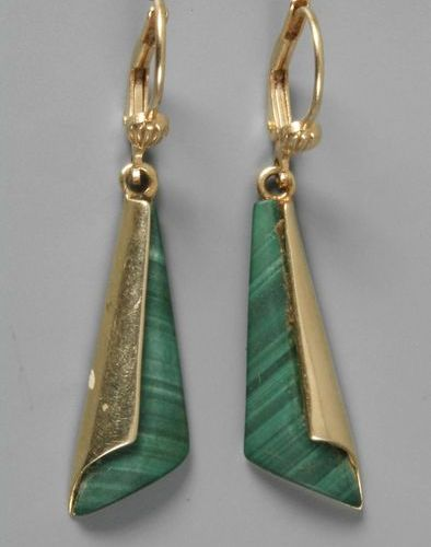 Pair of earrings with malachite  c. 2000, yellow gold stamped 585, each set with…