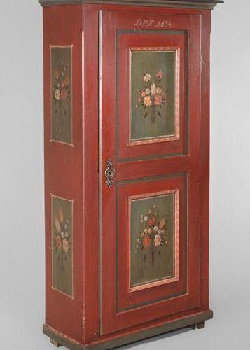 Armoire du fermier 1834  Bois de conifère massif, peint, armoire étroite à une p…