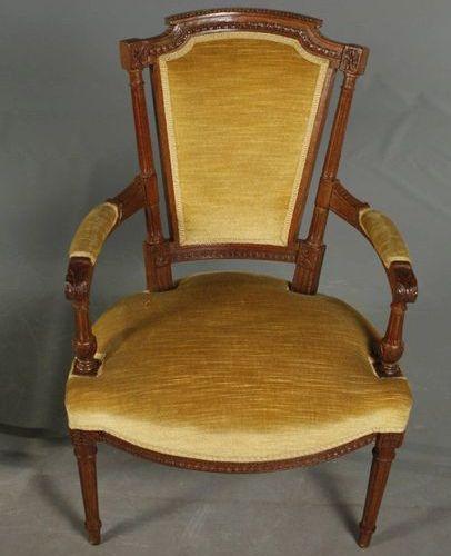 Groupe de sièges Louis Seize  Hêtre et chêne massif, vers 1780, composé de deux …