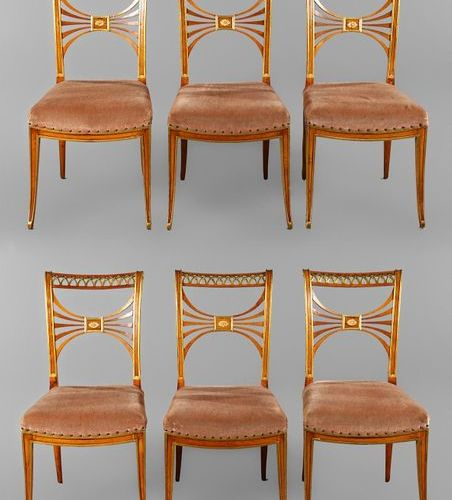 Six classicistic chairs  Saxony, c. 1790, solid red beech, partially gilded, the…