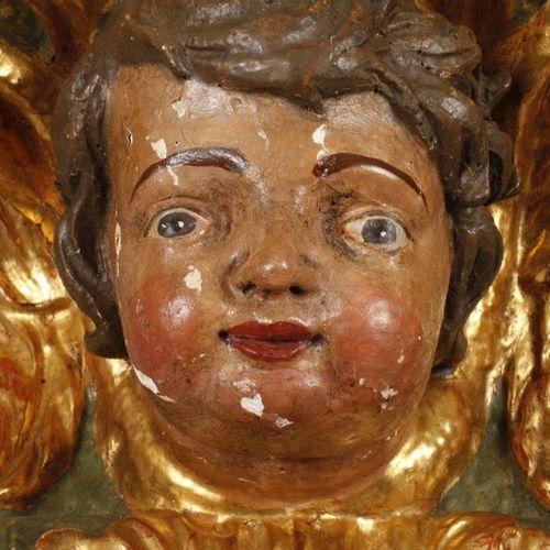 Paire de consoles murales figuratives baroques  XVIIIe siècle, bois sculpté, stu…