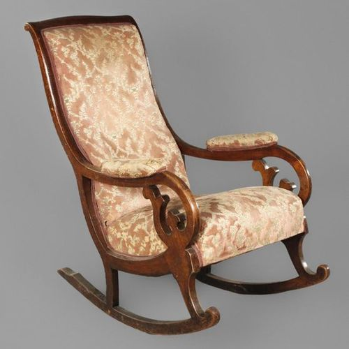 Rocking chair Biedermeier  Solid walnut, stained on mahogany, mid 19th century, …