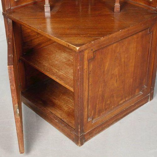 Neoclassical corner cabinet  around 1900, mahogany veneered on coniferous wood, …