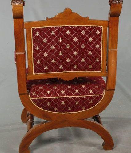 Scissor chair Historism  German, ca. 1880, solid walnut, backrest decorated with…