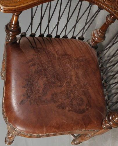 Corner chair Historism  Solid walnut, c. 1880, comfortable desk chair with origi…