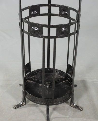 Wrought iron coat stand  German, around 1910, wrought iron later painted black, …