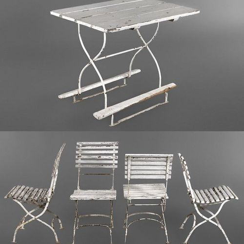 Garden table and four chairs  1920s, folding iron frames, curved seats and backr…