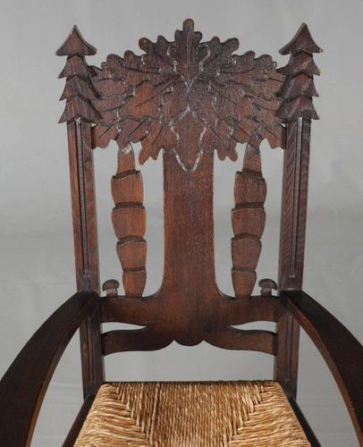 Armchair Worpswede  unmarked, c. 1910, chair of solid oak, stained dark brown, d…