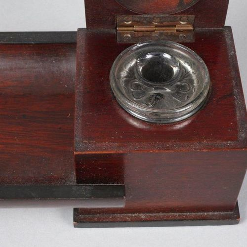 Writing set Art déco  1920's, solid dark precious wood, slim case with square in…