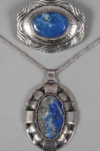 Pendant and brooch  circa 1920, silver stamped 800, brooch set with dumortierite…