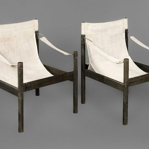 Pair of Safari Chairs  unmarked, 1980s, solid beech frame, stained black, coarse…