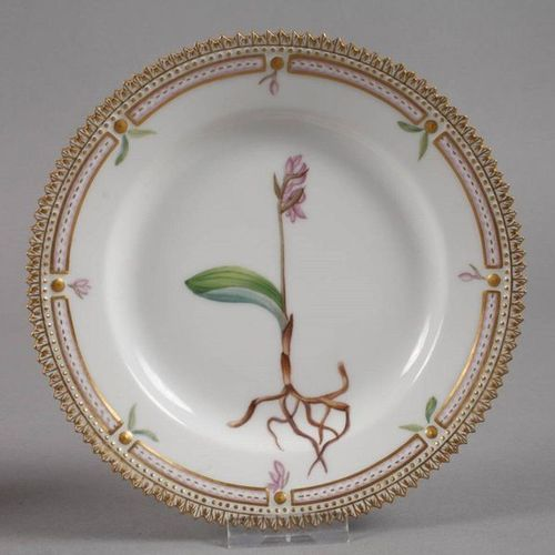 """Royal Copenhagen pair of bread plates """"Flora Danica  Design 1790 by order of the…"""