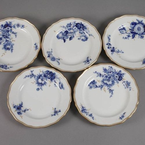 "Meissen ten dinner plates ""Blue flower with golden grass""  underglazed blue swor…"