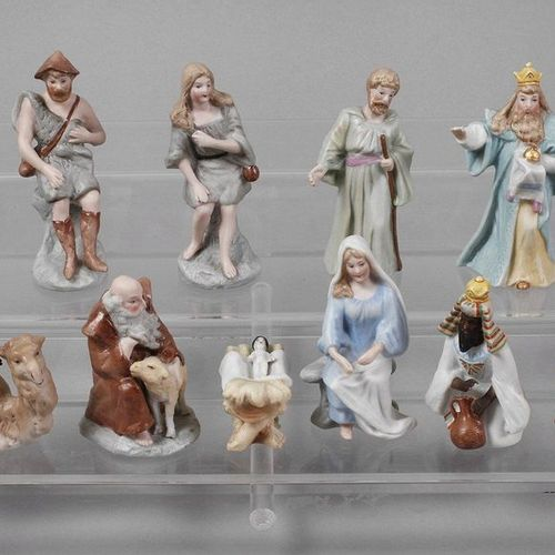 Nativity figures  probably Thuringia, 20th century, unmarked, bisque porcelain w…