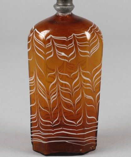 Brandy bottle  France or Switzerland, end of the 18th century, brown glass with …