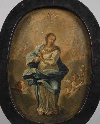 Tablette votive du XVIIIe siècle  Représentation de Marie comme Immaculée, debou…