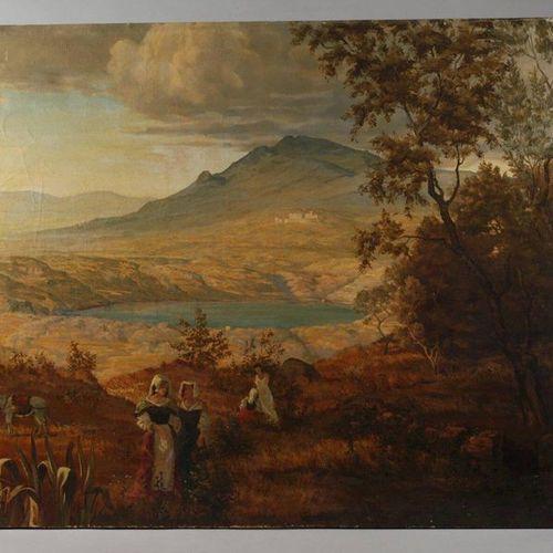 Oswald Achenbach, attr., summer day at lake Nemi  A bright Arcadian Italian summ…