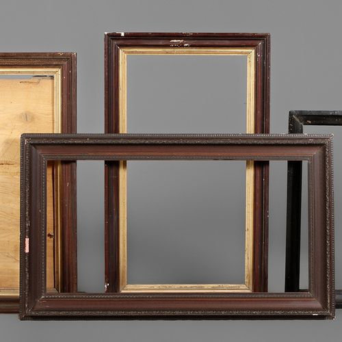 Four dark frames  Mixed lot of moulding frames with cut mitres of different age,…