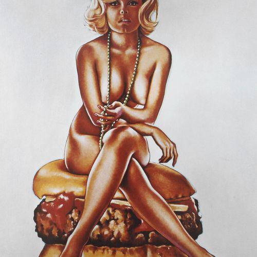 "Mel Ramos, ""Virnaburger"".  Nude young woman sitting on a cheeseburger, playing w…"