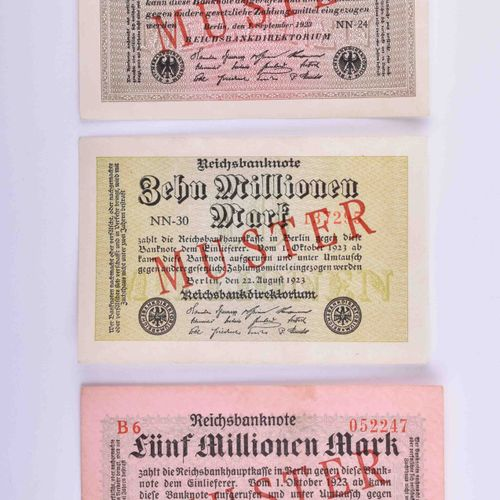 Deutsches Reich Infla, 3 Reichsbanknoten Muster | German Reich Infla 3 Reich ban…
