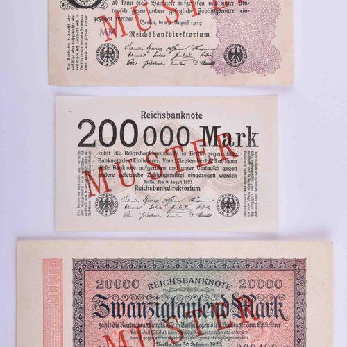 D eutsches Reich Infla 3 Reichsbanknoten Muster | German Reich Infla 3 Reich ban…