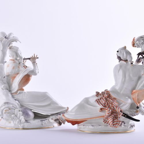 Orientalisches Paar Meissen | Oriental couple Meissen Moor with cockatoo and ori…
