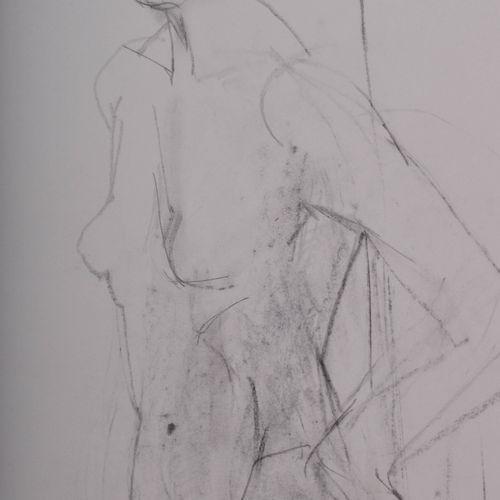 Werner STÖTZER (1931 2010) 侧面站立的女性裸体画,63cm x 44cm,右下角有签名和日期,角落里有钉子造成的小孔。