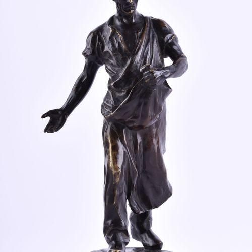 MAX VALENTIN (1875 1931) 海员青铜,高:31.5厘米,有底座,基座上有签名,支架上有献词,1925年左右非常漂亮的自然主义雕塑。