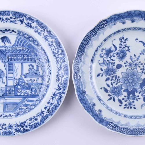 2 Teller China Qing Dynastie, 18. / 19. Jhd. Avec peinture en bleu sous glaçure,…