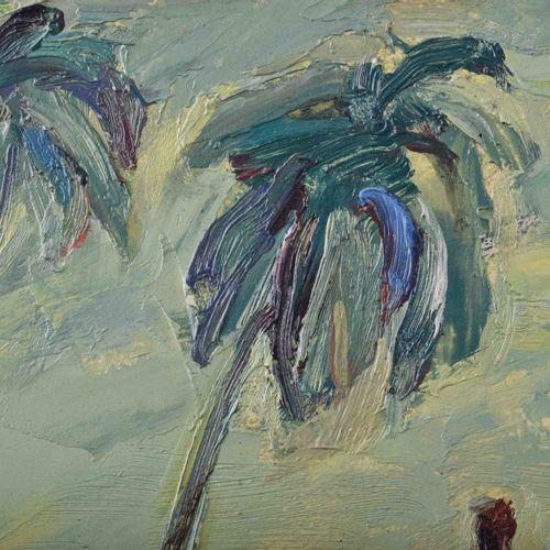Ronald PARIS (1933 2021) 喀拉拉邦奥达贾姆海滩绘画 油/木,28.8厘米x65厘米,底部中央有签名和日期2001,背面有题字。