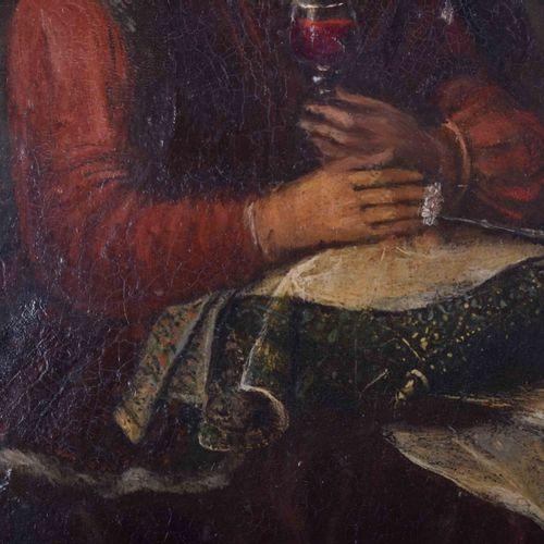 Jacob TOORENVLIET (1635/41 1719) (attrib.) 饮酒者绘画 油/铜,26.8厘米 x 21.5厘米,背面有旧的粘性标签上的…