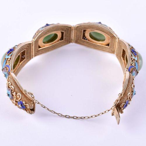 Filigranes Silberarmband mit Jade bracelet en argent doré finement ciselé avec j…